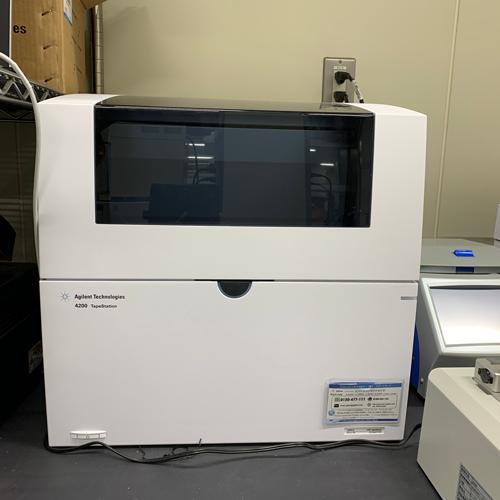 最近新しく導入された、自動電気泳動装置です。<br>核酸の分解度を測定することが出来ます。<br>これも、次世代シーケンサー用のサンプル調製には欠かせない機械です。